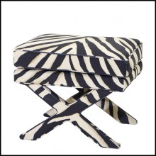 Stool covered with zebra panama fabric or silver grey satin fabric or black satin fabric 24-Stylish