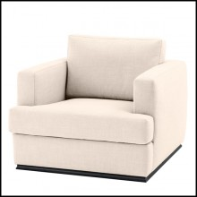 Armchair with structure in solid wood upholstered with duck feathers Panama natural or Panama black fabric 24-Talent