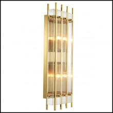 Wall lamp with brass structure in gold finish or nickel finish and clear glass 24-Arcanta L