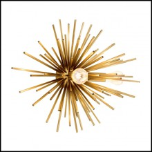 Wall lamp with iron structure in matte brass finish 24-Astrale