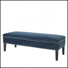 Bench with structure in solid birch wood upholstered with Roche blue velvet fabric or Ecru velvet fabric 24-Easy Velvet