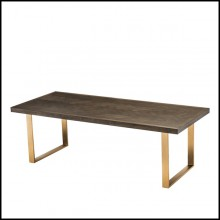 Dining table with stainless steel structure in brushed brass finish and brown oak wood 24-Catalaga Browny