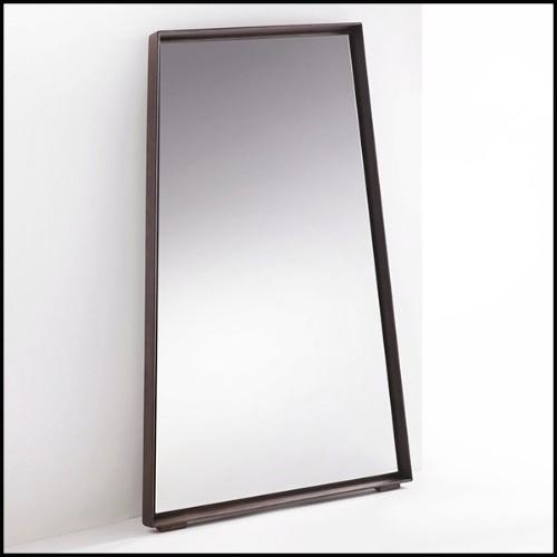 Table de repas avec structure en acier inoxydable finition laiton brossé et bois de chêne brun 24-Catalaga Browny