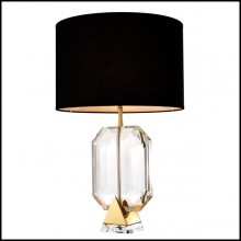 Table Lamp with structure clear crystal glass and stainless steel in Gold finish 24-Crystal Gold