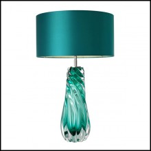 Table Lamp with structure in solid turquoise glass and iron with nickel finish 24-Aqua Torsade