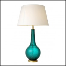Table Lamp with structure in handmade turquoise glass and matte brass finish 24-Aqua Green