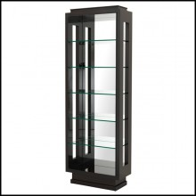 Bookshelves in solid mahogany wood structure with high gloss smoked finish clear glass shelves and mirror glass 24-Yards
