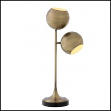 Lampe de salon avec structure en laiton finition antique ou finition nickel et base en granit noir 24-Hamptons