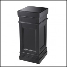 Column with structure in solid wood and black waxed finish 24-Fanfan Black
