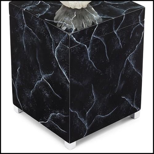 Chaise avec structure en bois d'acajou massif vernis fait main avec peinture en Gold 119-Estiva