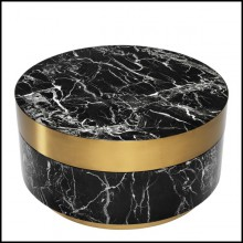 Coffee table in black resin marble and brushed brass rim and base 24-Barone