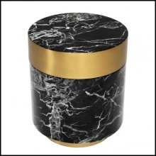 Side table with structure in black resin marble and brushed brass rim and base 24-Barone