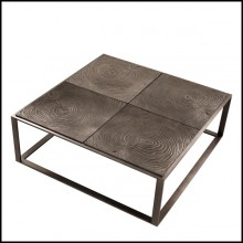 Table basse avec structure en acier inoxydable finition bronze rose 24-ZEN