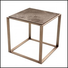 Table d'appoint avec structure en acier inoxydable finition bronze rose 24-ZEN