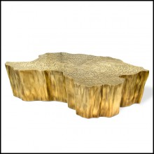 Coffee table with melted metal and gold-plated 145-Heaven
