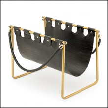 Magazine holder with frame in gold finish metal and with crocodile look leather style 162-Mag Holder