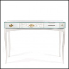 Console made with rosewood in white finishes and with lacquered glass top 145-White Finishes