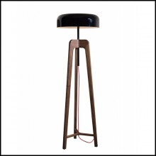 Floor lamp with feet in solid walnut and with black tin-plated shade 163-Linea