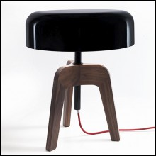 Table Lamp with feet in solid walnut and with black tin-plated shade 163-Linea