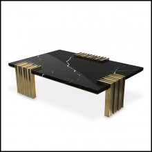 Coffee table with 3 feet base in solid polished brass and black marble top 164-Oldies