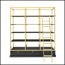 Bookcase with structure in gold finish metal 162-Salon