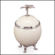 Box with palm tree with a natural ostrich egg with lid with plated silver metal 162-Ostrich Egg