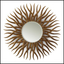 Mirror with structure in hand-carved mahogany wood with antique gold finish 119-Sunny