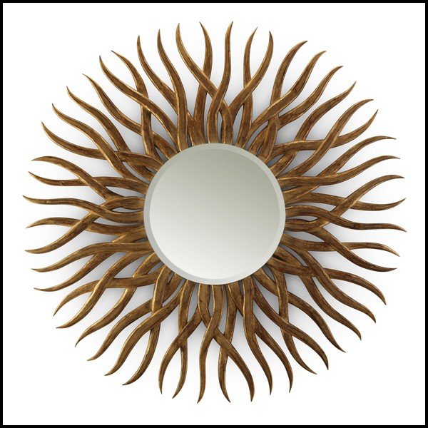 Structure In Hand Carved Mahogany Wood, Carved Wood Mirror Round