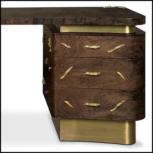 Table basse avec structure en bois d'acajou massif sculpté à la main 119-Harold