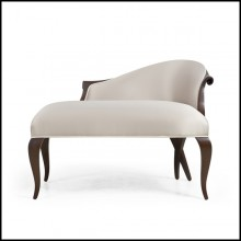 Sofa with structure in handcrafted veener mahogany wood covered with satin cream fabric 119-Nicely Tall