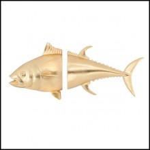 Wall decoration with structure in ceramic in gold finish 162-Tuna