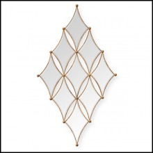Mirror with frames in solid mahogany wood and antique gold painting 119-Diamonds