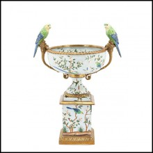 Parrots and flowers cup in porcelain with details in bronze finish 162-Parrots Flowers
