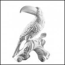 Sculpture of Toucan made with white ceramic 162-Toucan white