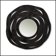 Mirror made with four black carved wood shaving 119-Round black