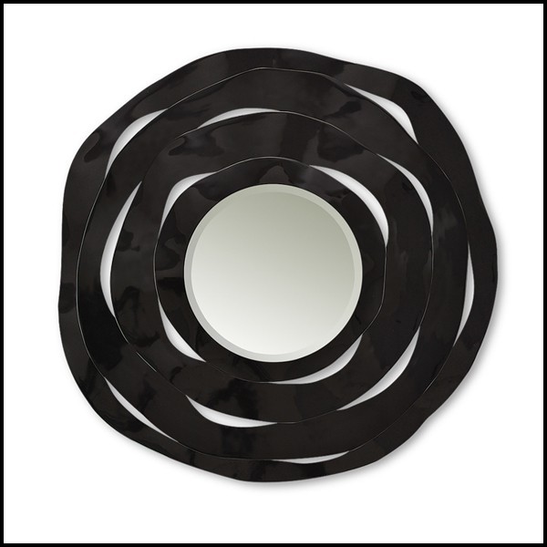 Mirror Made With Four Black Carved Wood, Carved Wooden Round Mirror