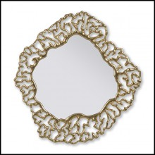 Mirror with Solid Mahogany Wood and polished mirror edges 119-Details Gold