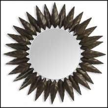 Mirror made with beaten copper leaves with the shape of a circular laurel wreath 119-Black Leaves