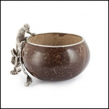 Bowl in solid treated coconut with sculpture of a monkey on the branch in silvered brass 162-Coconut and Monkey