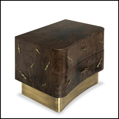 Bol en noix de coco traitée solide avec sculpture d'un singe en laiton argenté 162-Coconut and Monkey