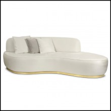 Sofa with structure in solid wood on casted base in polished brass 145-Curved White