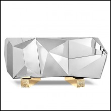 Sideboard with polished stainless steel on wood structure with gold finish 165-Fortnox