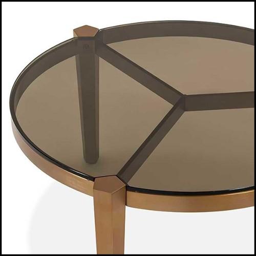 Chaise avec structure en laiton poli moulé et tissu vert de haute qualité 145-Gold Lion