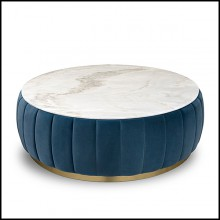 Coffee Table with Estremoz white marble top and blue velvet upholstered body PC-Lounge Dinner