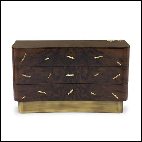Table avec structure conique tubulaire soutenue par trois composés en bois en finition Black Glossy 157-Marshall