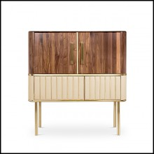 Cabinet in polished brass and solid walnut wood with bottom piece covered with genuine leather PC-Sinatra