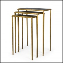 Set de 3 tables d'appoint avec structure en métal finition Gold et plateau en granit noir italien 119-Square Gold