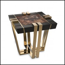 Side Table with black lacquered wood frame and brown marble top 164-Emperador