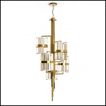 Chandelier with gold plated structure and crystal glass cylinder 164-Freeone