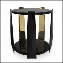 Side table with black lacquered wood and five gold plated polished brass arms in the inside 164-Five Arms